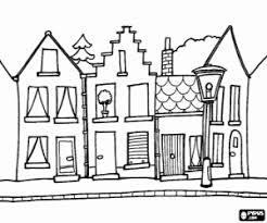 De Straat Van Een Stad Of Kleine Stad Kleurplaat Thema Wonen