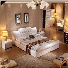 Contemporary Tufted Bed, Soft Leather Bed, Bedroom Furniture, White