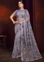 Light Purple Color Saree Light Purple Net Embroidered Saree With Blouse