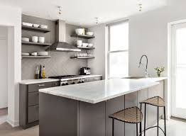 ... Terrific Dark Grey And White Top Granite Small Open Kitchen Design With Small  Open ...