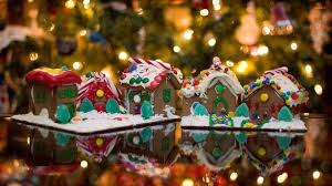 gingerbread house wallpaper. Contemporary Wallpaper Gingerbread Houses In Front Of The Christmas Tree Wallpaper In House Wallpaper T