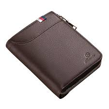 men black coffee zipper leather wallet card holder coin bag with external card slot cod