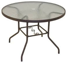 40 inch circular round patio dining table with powder coated steel frame and tempered glass top