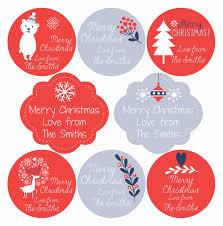 White Christmas Gift Labels Set 2 Blue