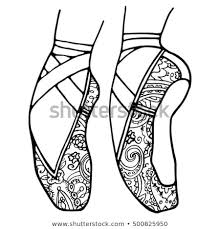 ballet shoes pointe coloring book page black and white monochrome dance