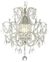 1 light wrought iron and crystal chandelier white