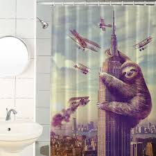 slothzilla sloth empire state building shower curtain hooks included