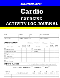 Cardio Exercise Activity Log Journal Mega Media Depot