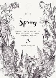 Floral Wreath With Spring Flowers Vector Vintage Botanical Illustration