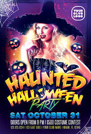Haunted Halloween Costume Party Flyer Template For Photoshop