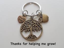 apple keychain. bronze tree keychain gift, thank you \u0026 apple charm - thanks for helping me