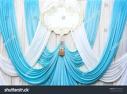 Light Blue Backdrop Curtain White Light Blue Curtain Backdrop Background Royalty Free
