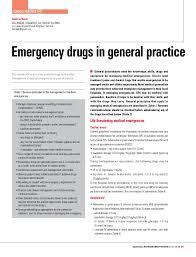 Emergency List Emergency Drug List