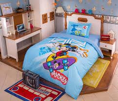 mickey mouse skateboarding light blue bedding set 1 600x515 mickey mouse skateboarding light blue bedding