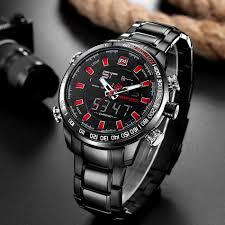 Naviforce <b>Men Fashion Sport</b> Wristwatch Stainless Steel Dual ...
