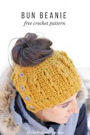 Crochet Bun Hat Free Pattern Mesmerizing Crochet Bun Beanie With Faux Cables Free Pattern And Video Tutorial