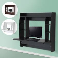 homcom floating wall mount office computer desk. Homcom Floating Wall Mount Office Computer Desk With Storage Black Well Known Desks
