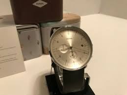 fossil chase timer chronograph brown leather watch fs5488 new in box