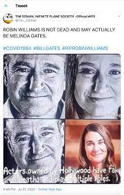 Robin Williams Comedian and Film Star & Melinda Gates - reputation damaged  by internet conspirator Jacob Vigil (aka Tim Ozman, Jack Larson, Infinite  Plane Society) by claiming he faked his death, and