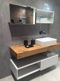 Solid wood floating countertop for bathroom