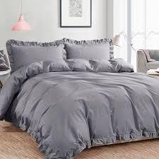 3 Piece Washed Cotton King Size Duvet Cover Set, Grey – NTBAY & 3 Piece Washed Cotton King Size Duvet Cover Set, Grey Adamdwight.com