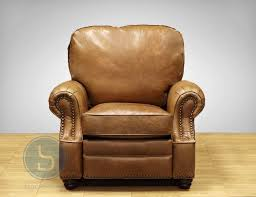 barcalounger longhorn ii leather recliner chair in chaps saddle front view
