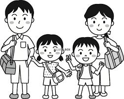 無料イラスト 夏の子供家族でお出かけモノクロ