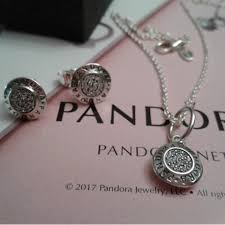 pandora necklace and earrings set