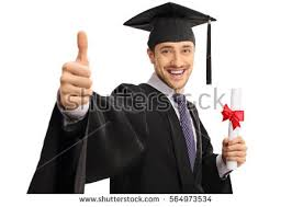happy graduate student giving thumb holding stock photo  happy graduate student giving a thumb up and holding a diploma isolated on white background