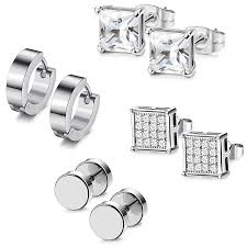 Innovato Design Jewelry Udalyn 4 Pairs Stainless Steel Earrings Set Hoop Earrings Cz Stud Earrings Barbell Earrings For Men