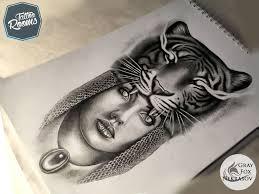 эскиз рисунок вампир тигр девушка Tattoo Sketch Tiger Woman