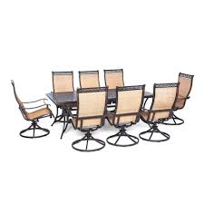outdoor swivel dining chairs. Hanover Manor 9-Piece Rectangular Patio Dining Set With Eight Swivel Rockers Outdoor Chairs M