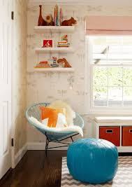san francisco west elm ikat rug with brown bookends kids transitional and moroccan pouf blue orange