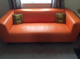 orange leather sofa ikea orange faux leather 2 seater retro sofa in caversham ideas