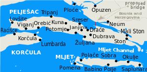 Image result for gradnja peljeskog mosta karte