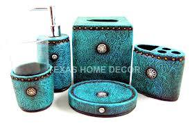 turquoise bathroom accessories western turquoise bathroom accessory set 5 piece tooled leather look rhinestones turquoise glass