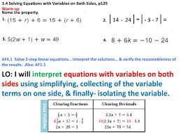 3 4 solving equations with variables on both sides p129 warm up powerpoint ppt presentation