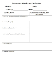 sample lesson plan outline common core lesson plan template business template