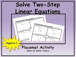 solve linear equations two step placemat activity free