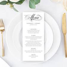 Wedding Menu Cards Template Diy Wedding Menu Cards Classic Elegant Wedding Menu Cards Templates Dinner Menu Cards Printable Pdf Templates