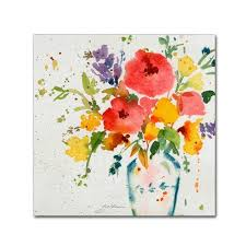 trademark global sheila golden white vase with bright flowers canvas art on white flower wall art target with white vase with bright flowers by sheila golden ready to hang