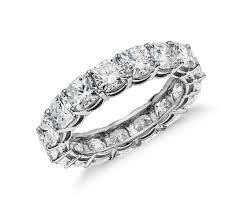 cushion cut diamond eternity ring in platinum 5 ct tw blue nile