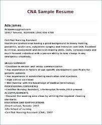 Sample Nursing Assistant Resume Entry Level Cna Resume Examples Coachfederation
