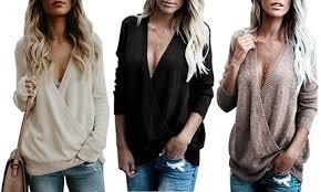 Up To 82% Off on <b>New</b> Women's Knitted <b>Deep V</b>-Ne... | Groupon ...