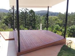 Ground Level Timber Deck And Patio Roof Shelter Poolside Deck