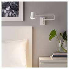 Ikea Wall Lights Bedroom Ikea Nymane White Wall Lamp With Swing Arm Led Bulb Ikea