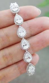 <b>Luxury Cubic Zirconia</b> Halo Style Pear Shape Bridal Bracelet from ...