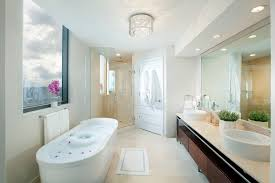 lighting above bathtub bathroom contemporary with ceiling light tile floor large windows