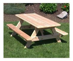 amish made kids traditional wooden picnic table with 2 attached benches