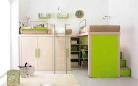 space saving kids furniture. Two Raised Beds One With Desk Underneath The Other Storage Space Saving Kids Furniture N